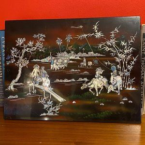 Vintage Mother of Pearl Inlay Lacquered Asian Art